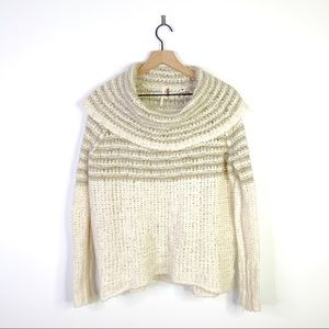 Free People Open Knit Pullover Shawl Sweater Small
